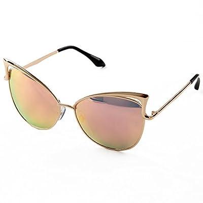 Sunny&Love Women's Oversized Cat Eye Sunglasses Mirror Eyewear With Case