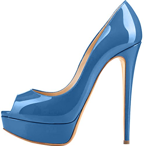 Trusify Mujer 15cm EU tamaño 34-46 Truthunder Tacón de aguja 15CM Sintético Sandalias de vestir Azul Royal