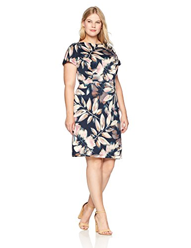 - London Times Women's Plus Size Short Sleeve Arch Shoulder Ponte Sheath Dress, Teal Pink, 18W