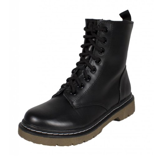 SODA Grunge! by Military Lace Up Combat High Ankle Boots (7, Black Leatherette)