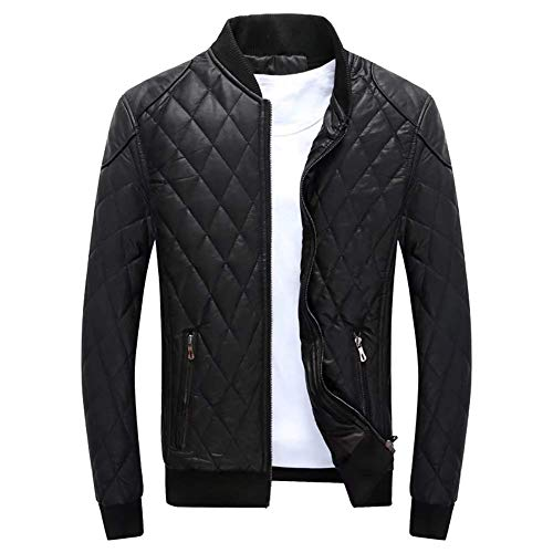 Men's Windbreaker Biker Leather Outerwear Autumn Coat Fur Black Quilted Comfortable Warm Jacket Zippered Fit Winter Slim Padded Down Battercake Pu fBSdqwPw
