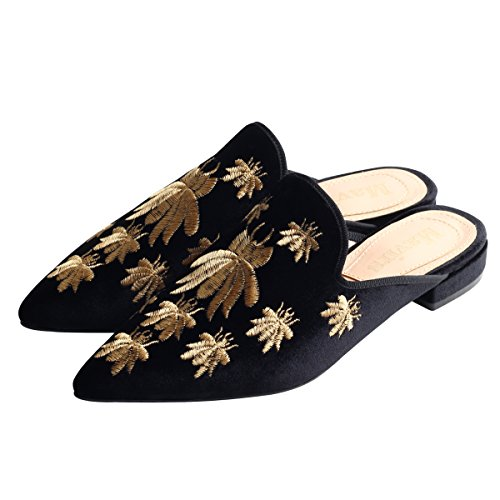 Black Slippers Loafers Velvet Mavirs Embroidery Backless Loafers Slip b On for Womens Mule Women Loafers xH7BOqT