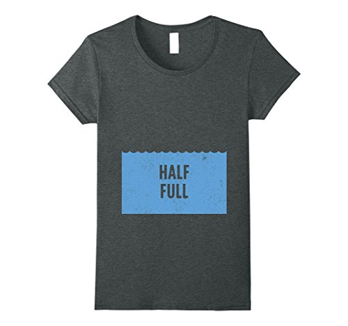 [Womens Pessimist Optimist Matching Shirts 2 of 2 - Glass Half Full Medium Dark Heather] (Half Life 2 Costume)