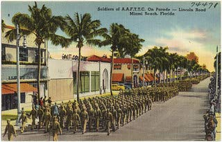 HistoricalFindings Photo: Soldiers on A.A.F.T.T.C. on Parade- Lincoln Road, Miami Beach, Florida (Lincoln Beach, Florida)