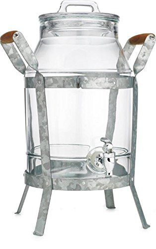 Classic Home Drink Dispenser Durable Glass with Galvanized Stand 2 Gallon And Spigot by HC (Image #1)