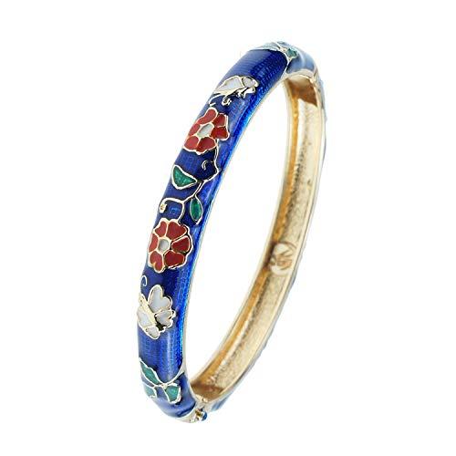 UJOY Bangle Jewelry Cloisonne Bracelet Metal Gold Enameled Open Cuff Bracelets for Women Gift Box Packed 55B01 Flower Blue