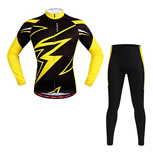 (SUNLMG Yellow Shirt Spring and Autumn Long-Sleeved Riding Suit Set Bicycle Quick Dry Suit Silicone mat,L)