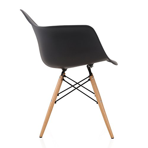 DAW Nordic Black Molded Plastic Dining Arm Chair with Beech Wood Eiffel Legs by CozyBlock (Image #2)