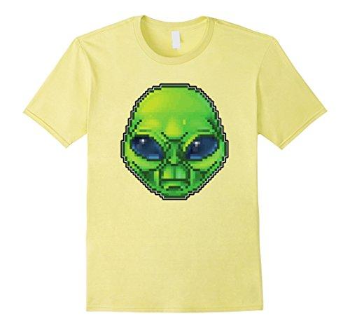 Area 51 Alien Costumes (Mens Alien, UFO, Area 51: Alien Face Shirt Retro Pixel Art 2XL Lemon)