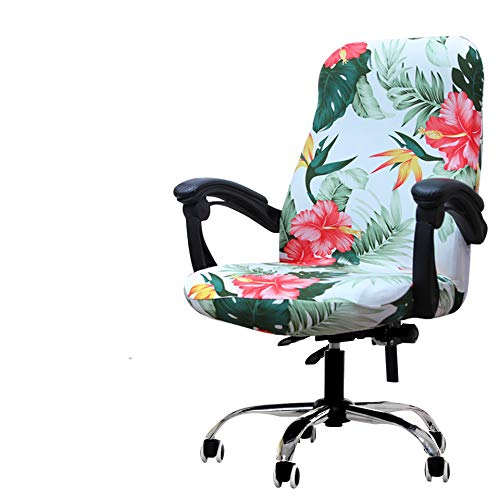 Deisy Dee Computer Office Chair Covers for Stretch Rotating Mid Back Chair Slipcovers Cover ONLY Chair Covers C162 (Green Leaves) (Office Chair Back Slipcovers)