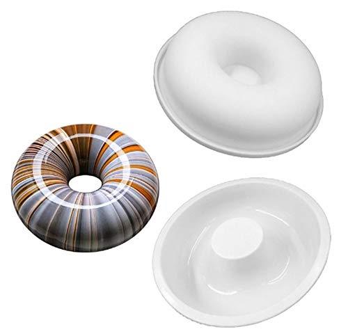 (Hewnda Round Silicone Donut Mould - Chocolate Mousse Mould - DIY Decorative Baking Tray - Baking Tools Cake Decorating Plate(White))