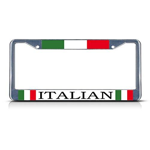 Italy Italian Italiano Metal License Plate Frame Tag Border Two Holes Perfect for Men Women Car garadge Decor