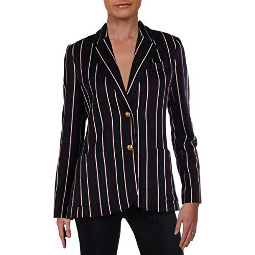 (LAUREN RALPH LAUREN Womens Striped Business Two-Button Blazer Navy S)