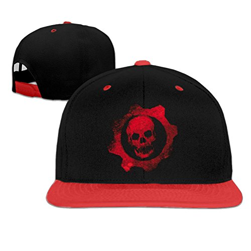 (Gears Red Skull baseball cap cool hip hop cap Red (5 colors))