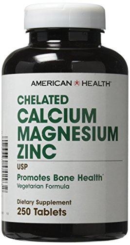 Chelated Calcium Tabs (American Health Calcium/Magnesium/Zinc Tablets, 250 Count)