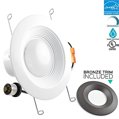 Trim Tint Base - Luxrite 5/6 Inch LED Recessed Ceiling Light Fixture, 15W (120W Equivalent), 5000K Bright White, Bronze Trim Included, 1300LM, LED Retrofit Recessed Light, Dimmable, E26 Base, ENERGY STAR, 1-Piece