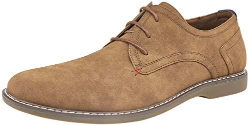 (JOUSEN Men's Oxford Suede Classic Plain Toe Derby Casual Dress Shoes (11.5,Retro Brown))