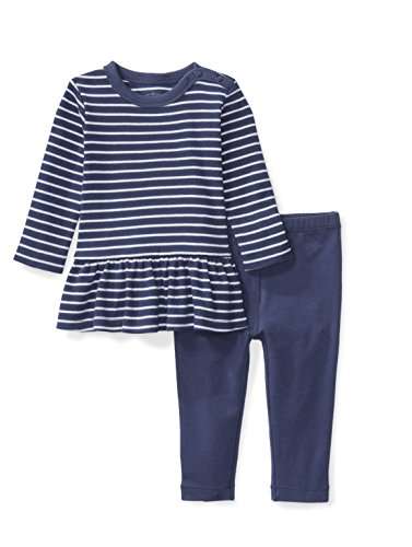 Baby Dress Back - Moon and Back Baby Girls' Organic 2-Piece Dress and Legging Set, Navy Sea, Newborn