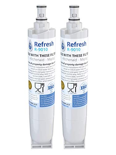 Refresh Replacement for Whirlpool 4396508, 4396510, EDR5RXD1, NLC240V, Kenmore 9085, Kitchenaid, Maytag, and Whirlpool Side By Side Refrigerator Water Filter (2 Pack)