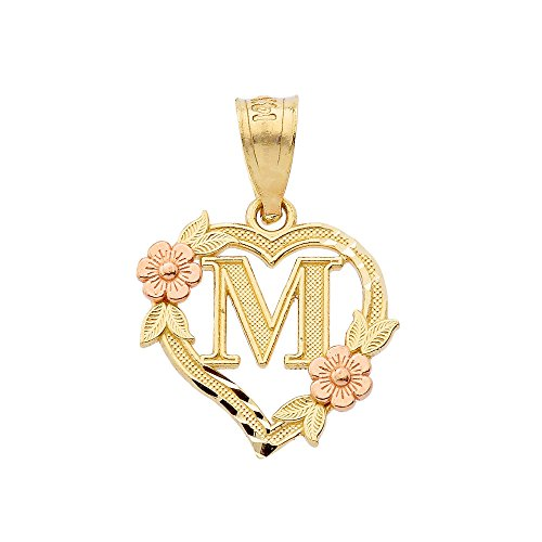 - 10k Two-Tone Initial Heart Pendant for Women in Yellow and Rose Gold - Letter M