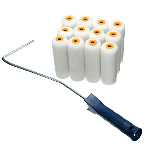 12PCS/set 100mm Craft Paint Foam Rollers Decorators Brush Smooth Tools + Handles Painting (Tools Foam Brushes)