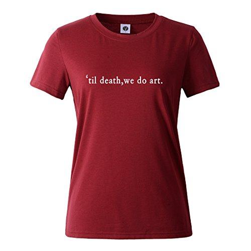 BLACKMYTH Mujer Casual Camisetas Para Estampar Redondo Graphic Tees Manga Corta Señoras T-shirt Vino Rojo