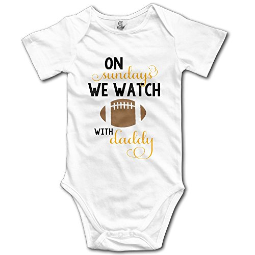 BRIGHT JUNAY On Sunday We Watch Football With Daddy Unisex Baby Stylish Romper 100% Cotton Bodysuit Outfits White
