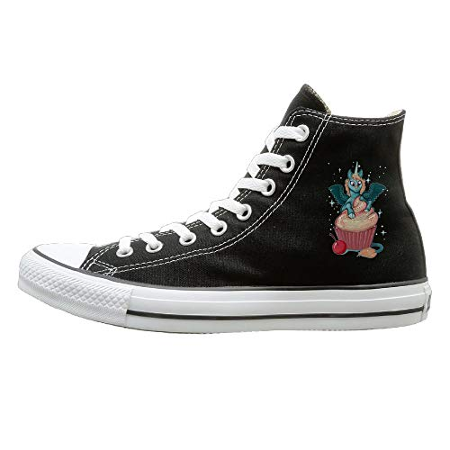 Sakanpo Cupcake Unicorn Canvas Shoes High Top Casual Black Sneakers Unisex Style 39