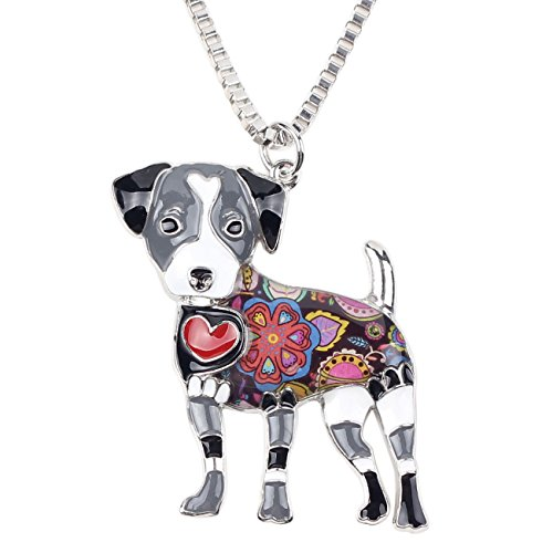 Jack Necklace Russell (BONSNY Love Heart Enamel Zinc Alloy Metal Jack Russell Necklace Dog PETS Animal pendant Unique Design 18