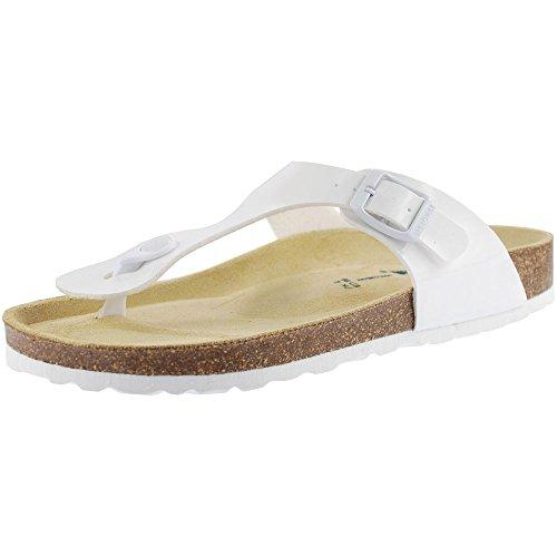 Sanosan Geneve Ladies Toe Post Sandals Lacque White Patent