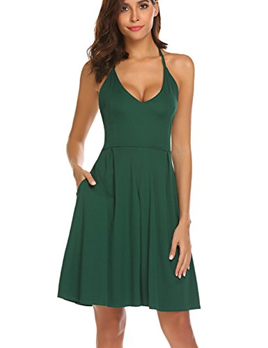 Womens Sexy Sleeveless Midi Dress Criss Cross Back Pleated Skater Summer Wedding Party Dress with Pockets Green,S