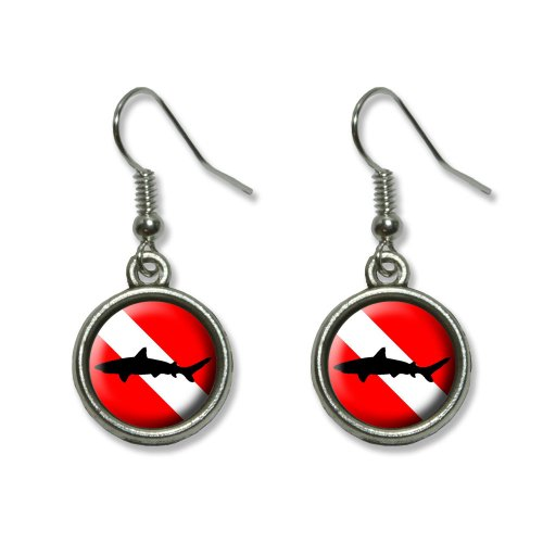 Scuba Diver And Shark Costume (Diving Flag - Scuba Diver Dive - Shark Novelty Dangling Dangle Drop Charm Earrings)
