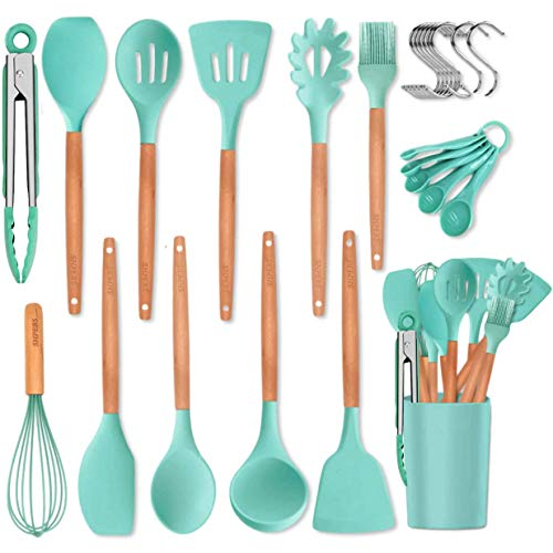 Kitchen Utensil Set, 27 Pcs Cooking Utensils Set, Silicone Kitchen Tools, Wooden Spatula Set Non-stick Cookware Turner…