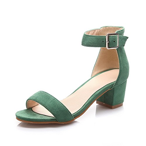 Allhqfashion Dames Solid Kitten Hakken Gesp Open Teen Sandalen Groen