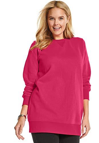 Woman Within Women's Plus Size Fleece Sweatshirt - Sweet Raspberry, 1X ()