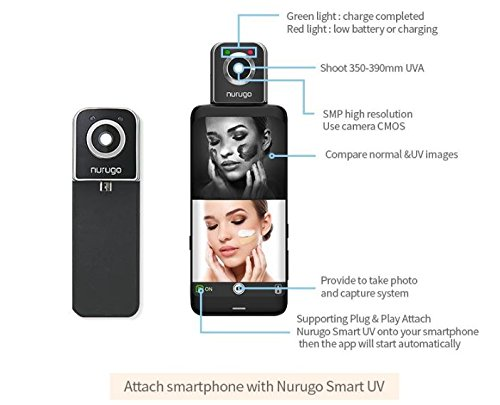 Nurugo SmartUV with Detachable SmartUV Lamp - A Connectable UV Camera for  Smartphone USB TypeB (Android 4 3+) -Test UV Product Claims, Check  Sunscreen