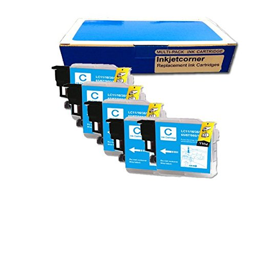 Inkjetcorner 5 Pack Cyan Replacement Ink Cartridge for Brother LC-61 LC61C MFC-295CN MFC-490CW MFC-495CW MFC-5490CN MFC-5890CN MFC-6490CW MFC-J265w MFC-J410w MFC-J415w MFC-J615W MFC-J630W