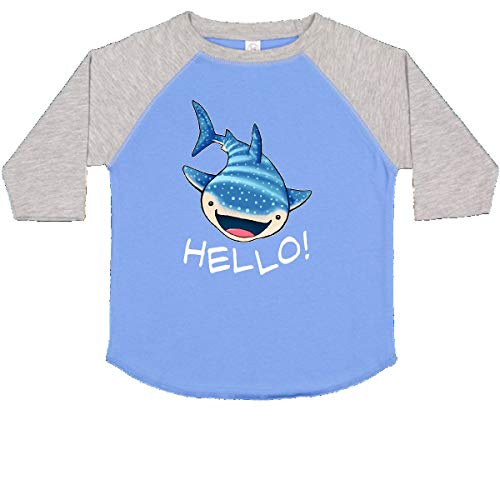inktastic Cute Whale Shark Says Hello Toddler T-Shirt 4T Blue and Heather
