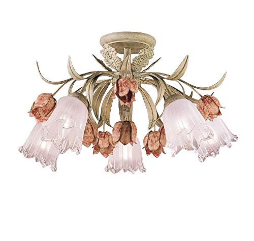 Crystorama 4800-SR Leaf, Flower, Fruit Semi Flush Mount from Southport collection in Multifinish,