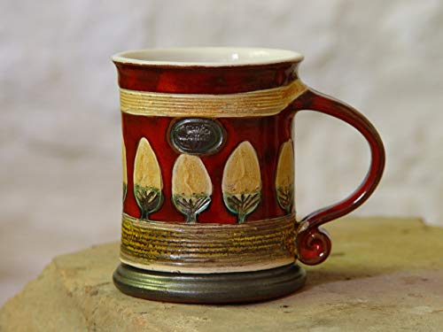 15 oz Red Pottery Coffee Mug, Earthen mug, Handmade Ceramic mug, Tea mug, Clay mug, Unique mug, Cute mug, Hand thrown mug, Danko Pottery