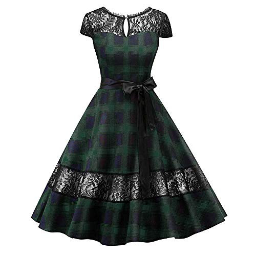 (JESPER Women Vintage Plaid Printing Sleeve Casual Evening Party Prom Swing Dress GN/XL Green)