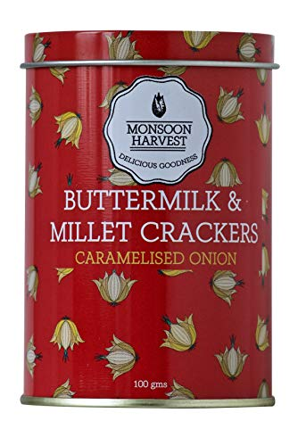 Monsoon Harvest Buttermilk and Millet Crisp Baked Crackers, Caramelised Onion, 100 Grams