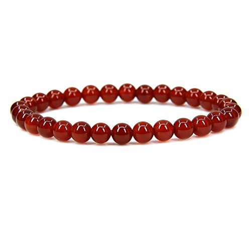 "AA Grade Red Agate Gemstone 6mm Round Beads Stretch Bracelet 7"" Unisex"