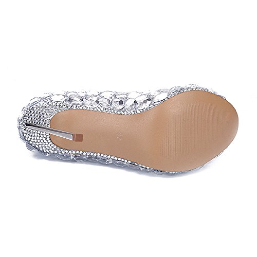 Lacitena Schuhe Diamant Elegant Absatz Metall Schuhe Kristall RHq5xrR