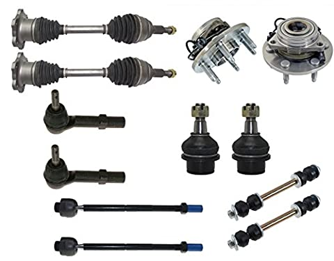 12-Piece Front Suspension Kit - Front : 2 CV Axle Shafts, 2 Wheel Hub Bearings, 2 Lower Ball Joints Fit Steel Control Arms Only, All 4 Inner & Outer Tie (09 Silverado Tie Rod)