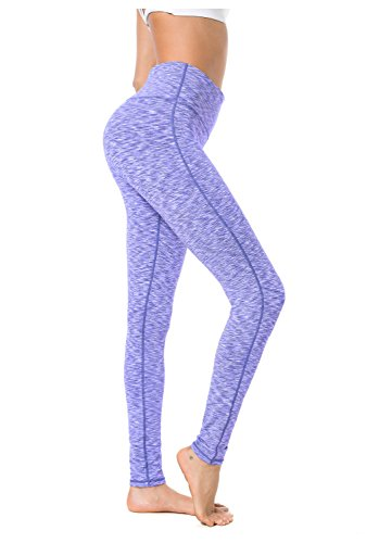 Queenie Ke Women Mid-Waist Drawstring Phone Back Pockets Sport Legging Yoga Pants Running Tights Size M Color Blue White Space Dye ()