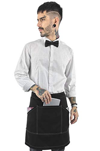 Under NY Sky Half Deep Black Apron with Durable Twill - Bistro Apron, Waist Apron Adjustable for Men and Women - Professional Barista, Bartender, Mixologist, Florist, Server Aprons