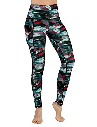 Fitness Control - ODODODOS High Waist Out Pocket Printed Yoga Pants Tummy Control Workout Running 4 Way Stretch Yoga Leggings,FineArtWine,X-Large