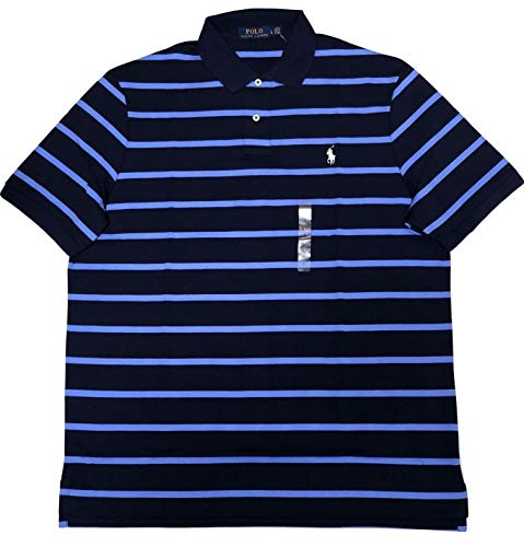 Polo Ralph Lauren Men's Soft Touch Polo Shirt Striped Two-Button Short Sleeve Shirts (XX-Large, Navy/Light Blue Stripe)