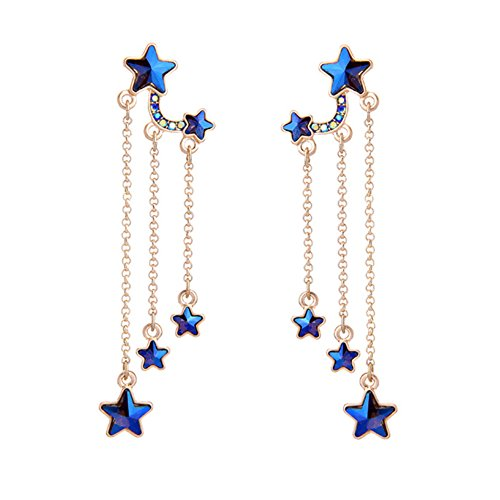 Crystal Chains Tassel Earring - Crescent Moon, Star and Planet with Statement Blue Crystal Drop Dangle Hook Earring for Women and Girls (Tassel chandelier style star)